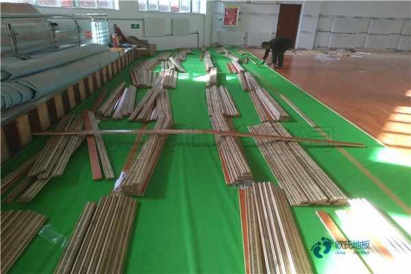 45度斜铺龙骨体育地板安装公司