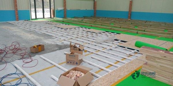 悬浮式篮球运动木地板工程